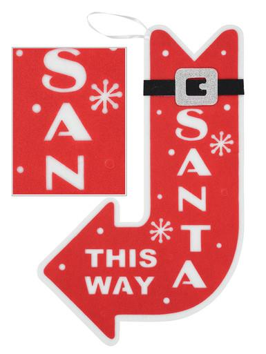 Image of Red & White Dacron Santa This Way Motif - 55cm