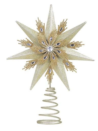 Image of Champagne & Gold Glitter Star Christmas Tree Topper With Jewel - 33cm