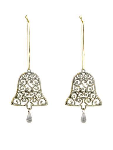 Image of Gold Bell Shaped Hanging Ornaments With Swirl Design - 2 x 12cm