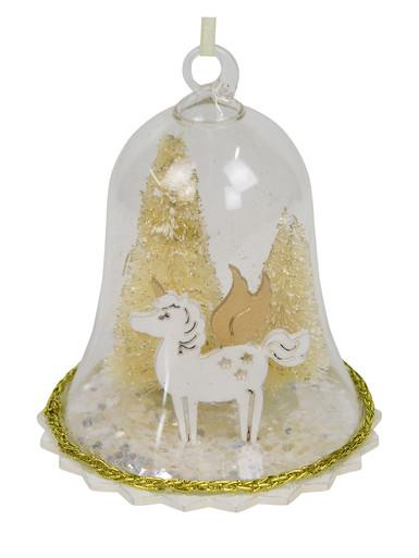 Image of Clear Bell Hanging Ornament with Gold Trees & Castle - 12cm