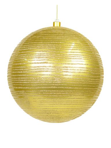 Image of Gold Gloss With Thin Gold Glitter Stripe Large Bauble Display Decoration - 25cm