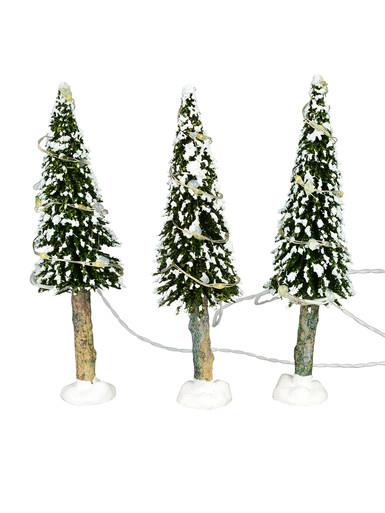 Image of Snow Flocked Christmas Trees With Warm White Lights - 3 x 19cm