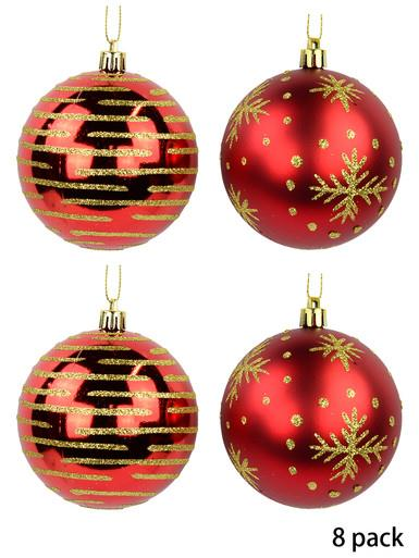 Image of Red Baubles With Gold Glitter Stripes & Snowflake Print - 8 x 80mm