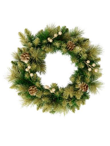 Image of Gold Glittered Natural Look Wreath With Pine Cones, Berries & 94 Tips - 48cm
