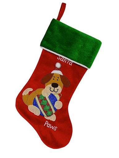 Image of Red Velvet Santa Paws Christmas Stocking With Dog Embroidery - 40cm