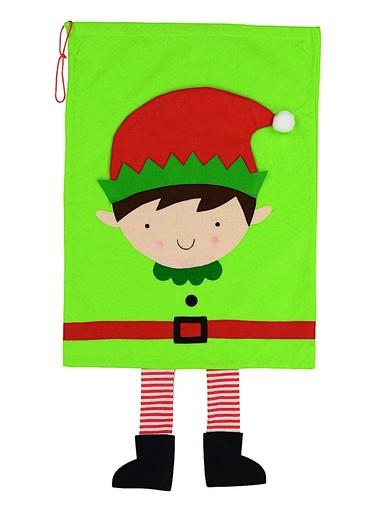 Image of Elf With Dangling Legs Green Christmas Gift Santa Sack - 90cm