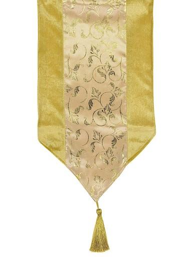 Image of Gold Table Runner With Printed Organza Centre Panel - 1.8m
