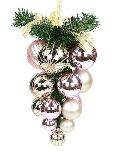 Image of Champagne & Pink Grape Clustered Baubles Hanging Decoration - 22cm