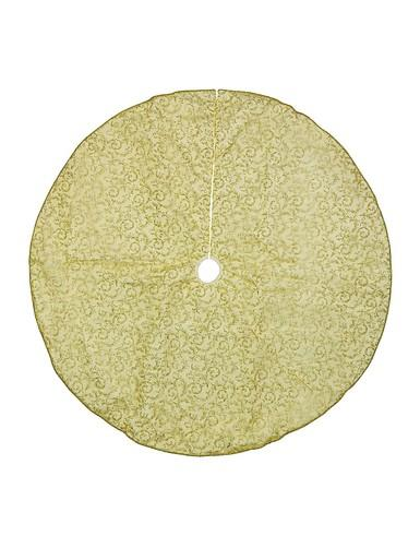 Image of Gold Glitter Tree Skirt With Traditional Print & Gold Cord Trim - 1.2m