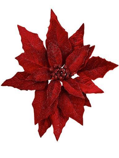 Image of Deep Red Glittered Velvet Decorative Poinsettia Floral Pick - 28cm