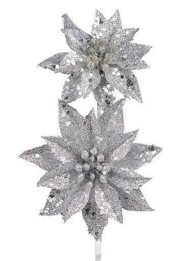 Image of Silver Glitter Poinsettia Pick With 2 Flowers On Single Stem - 30cm