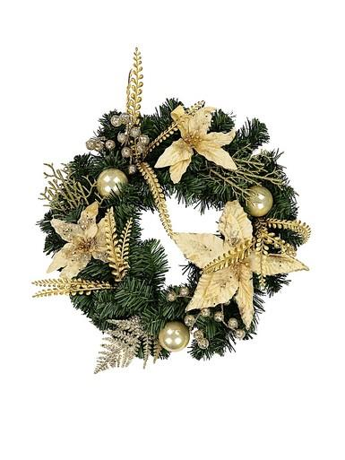 Image of Classic Gold & Champagne Wreath With Poinsettias, Baubles & Berries - 48cm