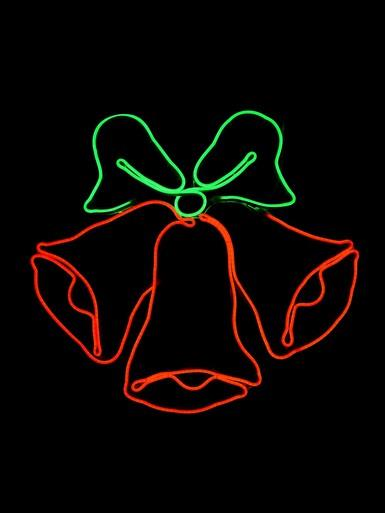 Image of Red & Green Jingle Bells Neon Rope Light Silhouette - 78cm