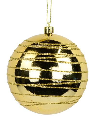 Image of Gold Gloss Bauble with Thin Gold Glitter Cross Lined Design - 10cm