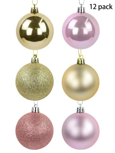 Image of Blush Pink, Gold & Soft Pink Bauble Set in Gloss, Matte & Glitter - 12 x 60mm