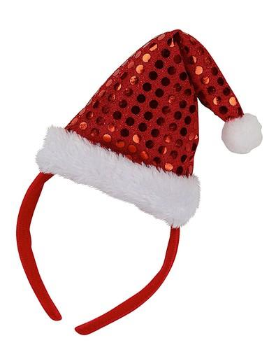 Image of Red Headband With Sequin Santa Hat - 22cm