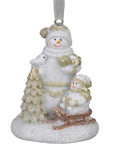 Image of Standing Snowman with Snowchild on Sled, Hanging Ornament - 70mm