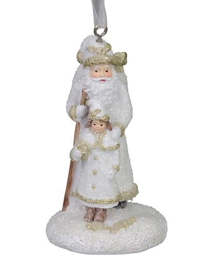 Image of Standing Traditional Father Christmas with Child, Hanging Ornament - 70mm