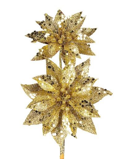 Image of Gold Glitter Poinsettia Pick With 2 Flowers On Single Stem - 30cm