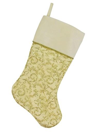 Image of Sheer Gold Organza Stocking With Champagne Velvet Cuff - 48cm