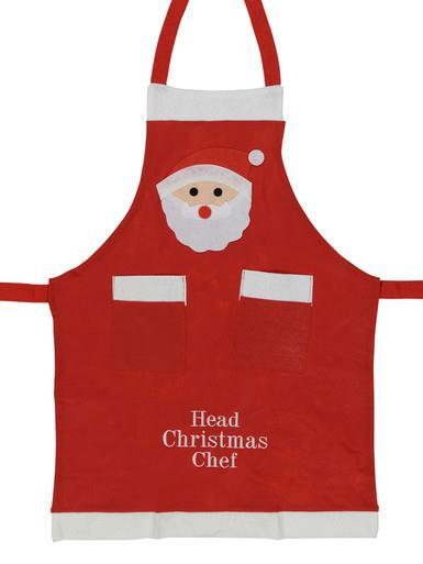 Image of Felt Head Christmas Chef Apron - 1 size fits most