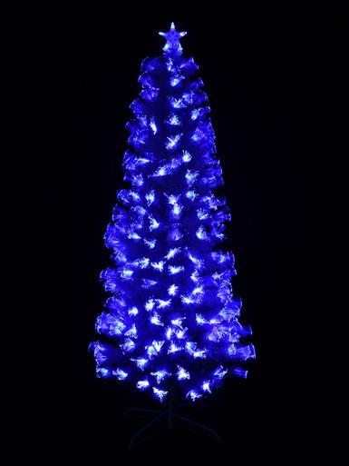 Image of Blue & Cool White LED White Fibre Optic Christmas Tree - 90cm