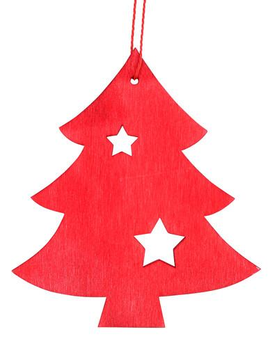 Image of Red Natural Wood 2D Tree With Star Hanging Decoration - 12cm