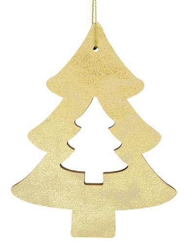 Image of Gold Natural Wood 2D Tree Hanging Decoration - 12cm