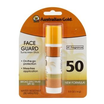 Australian Gold Face Guard Sunscreen Stick Broad Spectrum SPF 50 - #1 Fragrance 14g/0.5oz Skincare