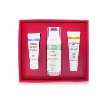 Ren Face Favourites Set: Glycol Latic Mask 15ml + Evercalm Day Cream 50ml + keep Young & Beautiful Beauty Shot 10ml 3pcs Skincare