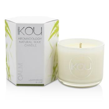 iKOU Eco-Luxury Aromacology Natural Wax Candle Glass - Calm (Lemongrass & Lime) (2x2) inch Home Scent