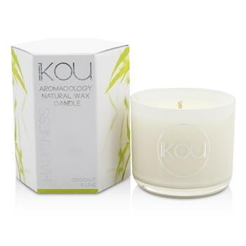 iKOU Eco-Luxury Aromacology Natural Wax Candle Glass - Happiness (Coconut & Lime) (2x2) inch Home Scent