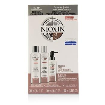 Nioxin 3D Care System Kit 3 - For Colored Hair, Light Thinning, Balanced Moisture 3pcs Hair Care