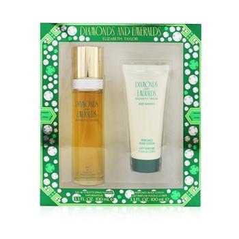 Elizabeth Taylor Diamond & Emerald Coffret: Eau De Toilette Spray 100ml/3.3oz + Perfumed Body Lotion 100ml/3.3oz 2pcs Ladies Fragrance