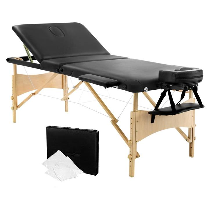 Portable Wooden 3 Fold Massage Table Chair Bed 70cm MT-WOOD-F3-BLACK-70