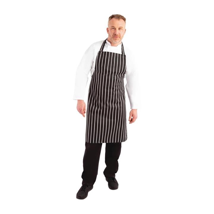 Image of Whites Butchers Stripe Apron Black Size: One Size