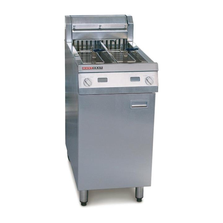 Image of Austheat Freestanding Twin Pan Electric Deep Fryer 2 x 14Ltr AF822