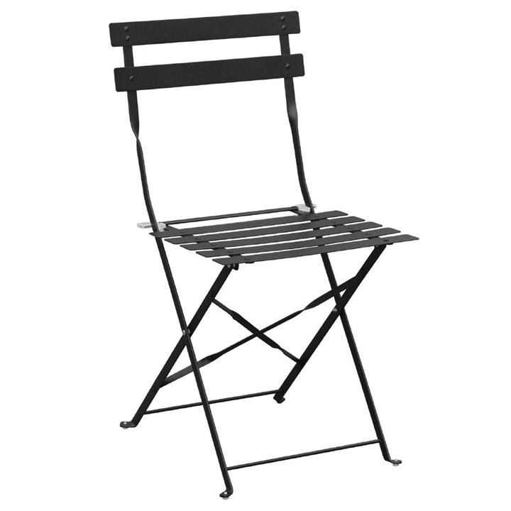 Image of Pack of: 2 Bolero Black Pavement Style Steel Folding Chairs (Pack of 2)