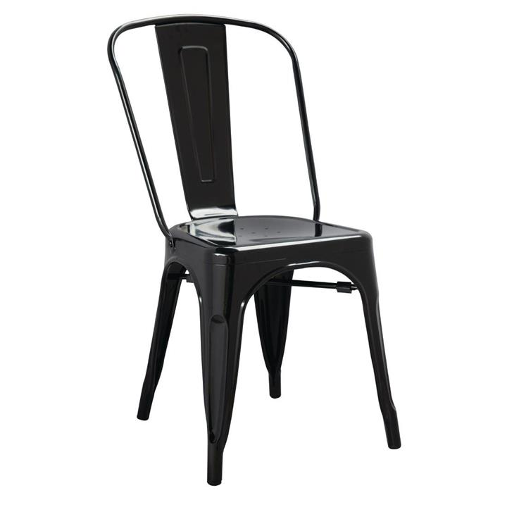 Image of Pack of: 4 Bolero Black Steel Bistro Side Chair (Pack of 4)