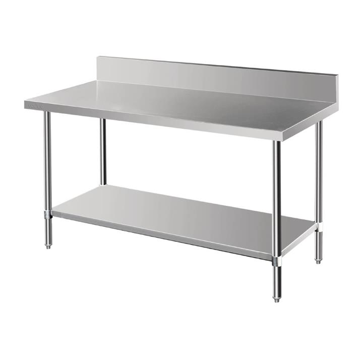 Image of Vogue Premium Stainless Steel Table with Splashback 1500mm