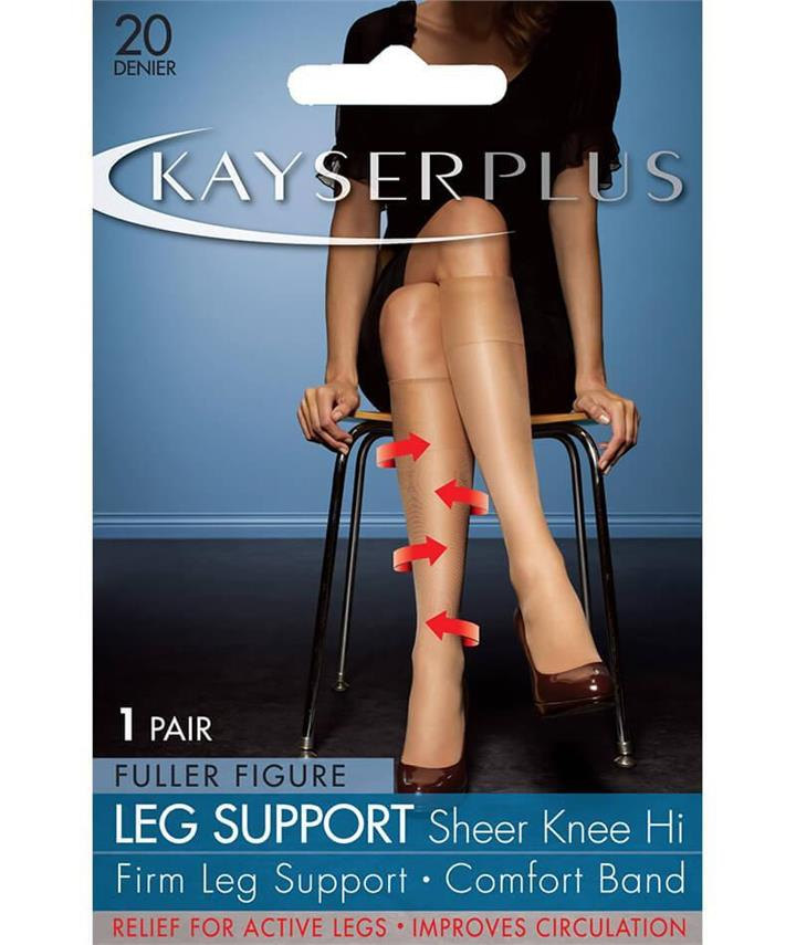 Kayser Plus Support Knee Hi's - Nubeige 1 Size H10214 Hosiery Tights Stockings - Afterpay Available