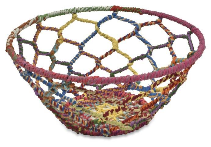 Image of Amita Fabric Open Weave Iron and Fabric Decor Bowl Large - Multicolour