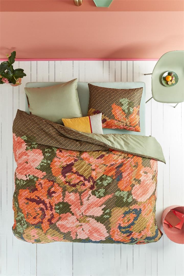 Image of Oilily Embroidered Flower Multi Cotton Sateen Quilt Cover Set - Queen Bed