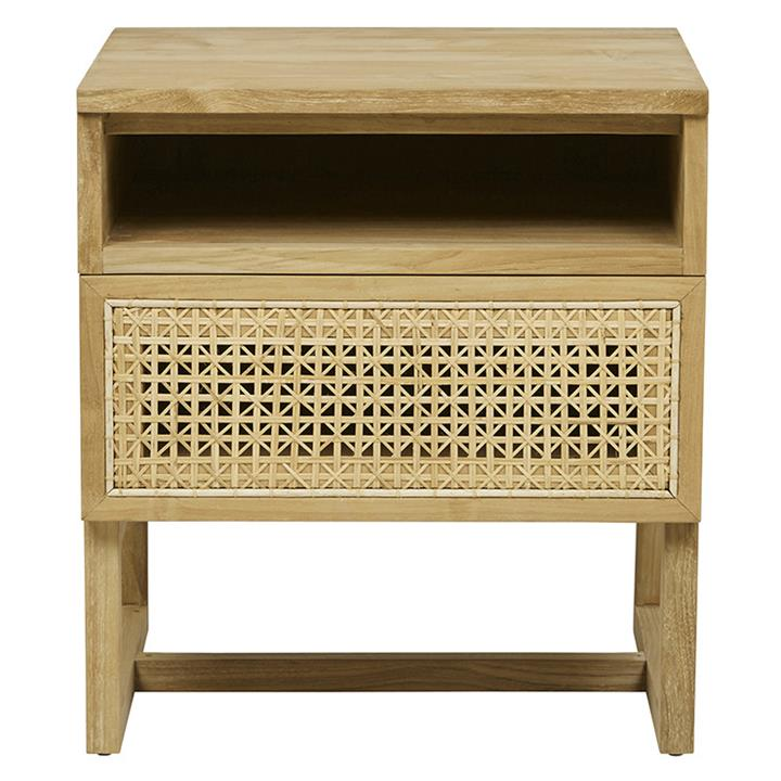 Image of Willow Woven Bedside - Natural Teak Wood