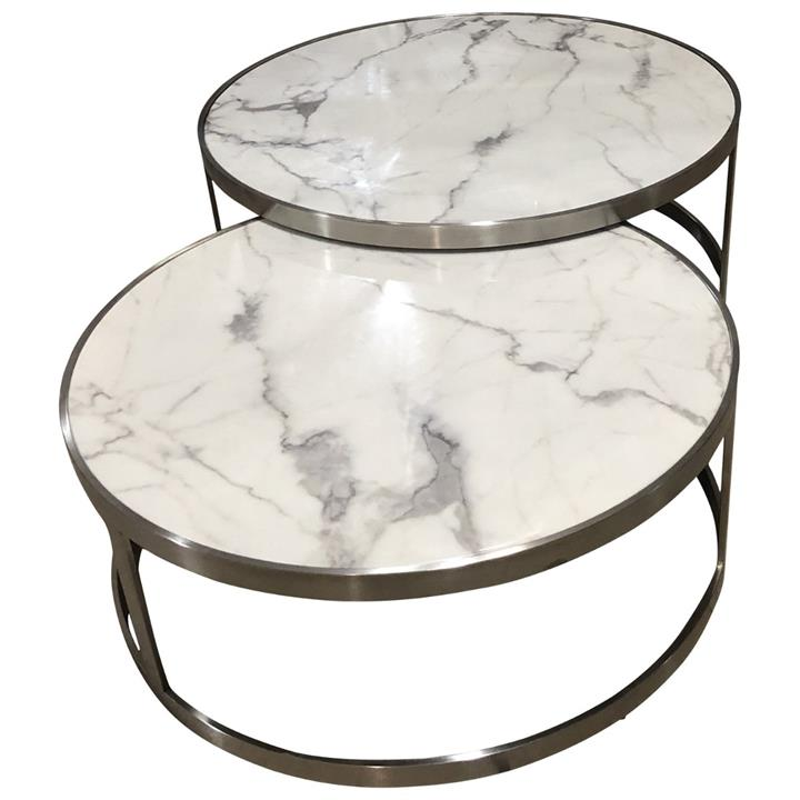 Image of Sterling Coffee Table Set White Marble