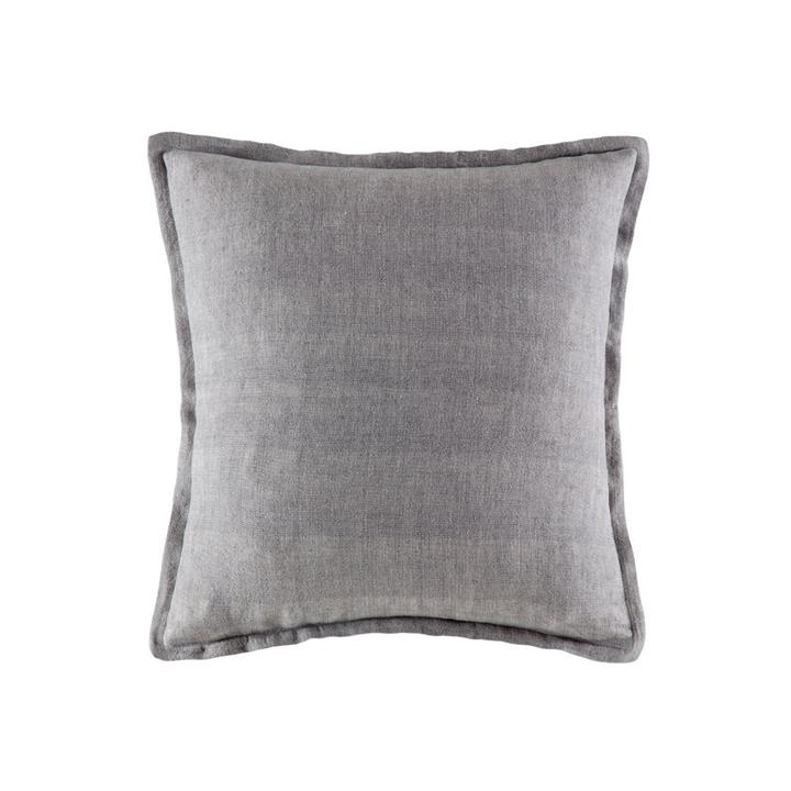 Image of Linen Cushion 50x50 - Soft Grey Square