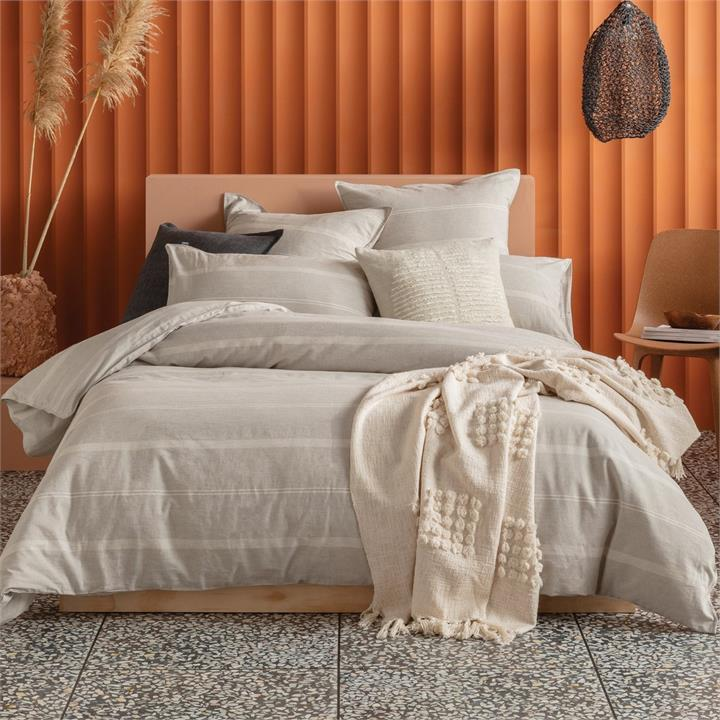 Image of Balmoral Quilt Cover Set 180x210 - Neutral Double