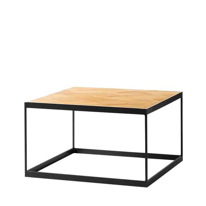 Image of Atticus Oak Parquetry Side Table - Black