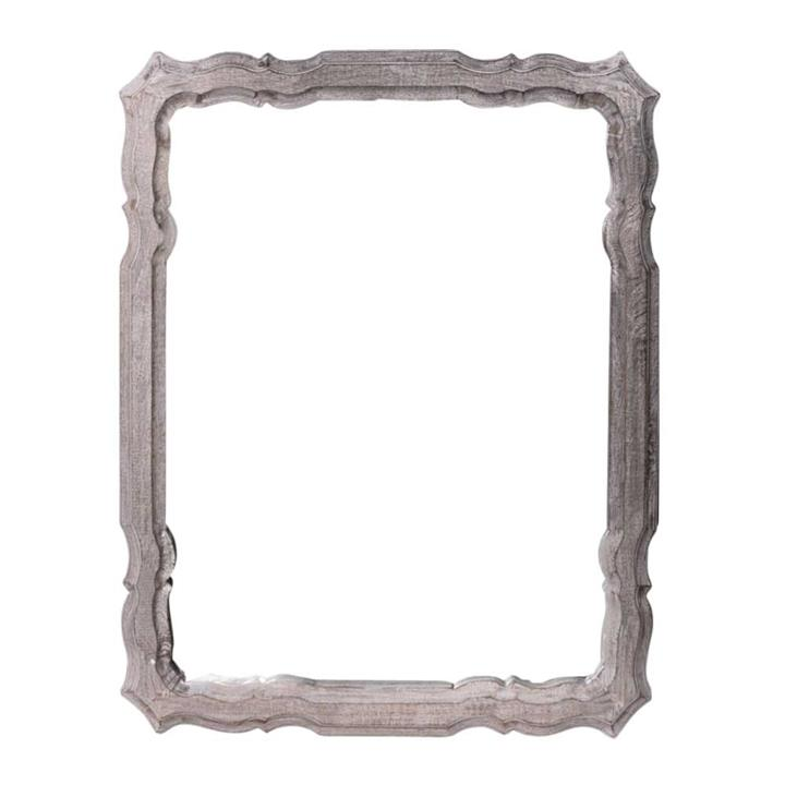 Image of Antique White Wash Ornate Wood Mirror