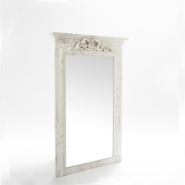 Image of Elizabeth Mirror In White Wash with Bow